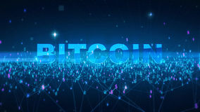Word bitcoin Fintech technology and Blockchain network concept , Distributed ledger technology, Distributed connection. Atom with binary digits and currency Royalty Free Stock Image