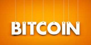 Word Bitcoin - textotez accrocher sur la corde Images stock