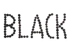 Word Black lined with blackberry Stock Images