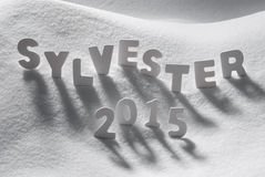 Word blanc Sylvester 2015 nouvelles années Eve On Snow de moyens Image libre de droits