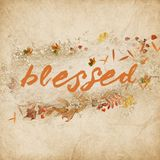 Word blessed with autumn leaves Royalty Free Stock Images