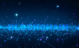 Word blockchain Fintech technology and Blockchain network concept , Distributed ledger technology, Distributed. Connection atom with binary digits and currency Stock Photography