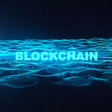 Word blockchain Fintech technology and Blockchain network concept , Distributed ledger technology, Distributed. Connection atom with binary digits and currency Royalty Free Stock Image