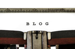 Word blog. The word blog written with old typewriter Royalty Free Stock Photography