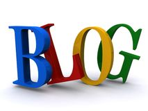 The Word BLOG in 3D. Letters of blue, red, yellow and green