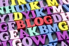 Word blog on blackboard Royalty Free Stock Images