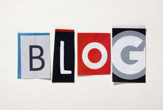 The word Blog from cut out magazine letters Royalty Free Stock Photo