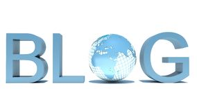 Word Blog with globe over white Royalty Free Stock Images