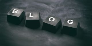 Word Blog on keyboard keys on black background, banner, view from above. 3d illustration. Blog written on keyboard keys on blackboard background, banner, view Stock Photography