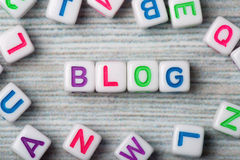 The word blog macro surrounding letters Stock Photography