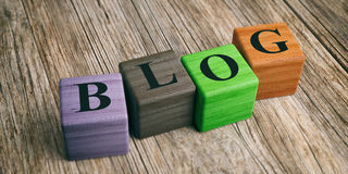 Word Blog op houten blokken 3D Illustratie stock illustratie