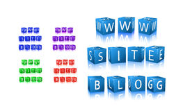 Word blog, site, www composed from letter cubes. Word blog, site, www icon set composed from letter cubes. illustration isolated onwhite background Royalty Free Stock Photos