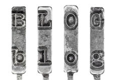 Word BLOG in Vintage Typewriter Typebars Isolated  Stock Image