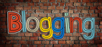 The Word Blogging on a Brick Wall.  Royalty Free Stock Images