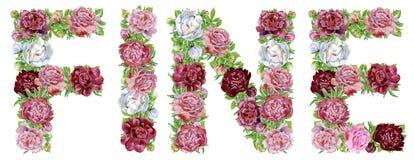 Word BOETE van de bloemen en de vlinders van waterverfpioenen stock illustratie