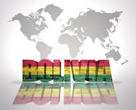 Word Bolivia on a world map background Royalty Free Stock Photography