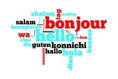 Word bonjour traduit dans beaucoup de langues Photographie stock
