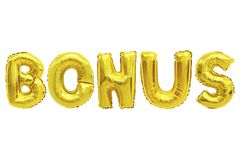 Bonus golden color. Word bonus in english alphabet from yellow Golden balloons on a white background. holidays and education royalty free stock image