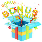 Word bonus inside a gift box Royalty Free Stock Photography