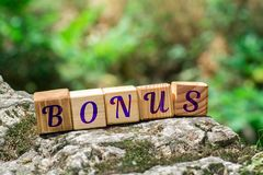 Word bonus on stone. Word bonus on wooden cubes on rock with green nature blur background stock photo