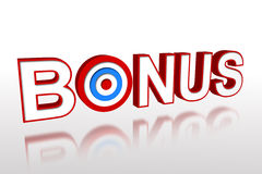 The word bonus with target Stock Photography
