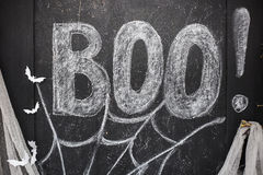 Word Boo drawn on black drawing board Royalty Free Stock Image