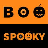 Word BOO SPOOKY text with smiling sad black pumpkin silhouette.  Royalty Free Stock Photography