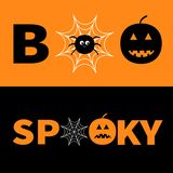 Word BOO SPOOKY text with smiling sad black pumpkin silhouette.  Royalty Free Stock Image