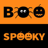 Word BOO SPOOKY text with smiling sad black pumpkin, spider insect silhouette. Banner lettering set. Happy Halloween.  Stock Photo