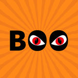 Word BOO text with red eyes. Evil eyeballs.. Happy Halloween. Greeting card. Flat design. Orange starburst sunburst background. Vector illustration Stock Image