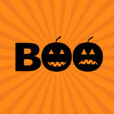 Word BOO text with smiling sad black pumpkin silhouette. Happy Halloween. Royalty Free Stock Images