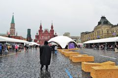 A word Books made of wooden bricks put on the Red Square in Moscow. Stock Photos