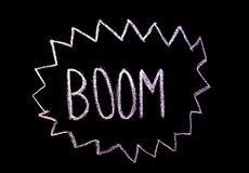 Word `boom`  drawned on chalkboard stock images