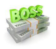 Word BOSS on a stack of euro. Royalty Free Stock Image