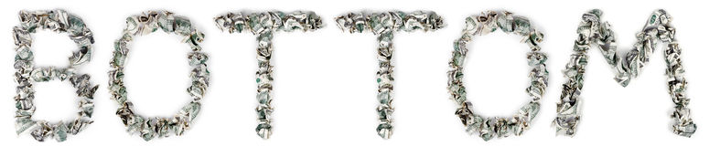 Bottom - Crimped 100$ Bills. The word 'bottom', made out of crimped 100$ bills Royalty Free Stock Photography