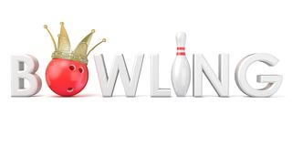 Word BOWLING, crown, bowling, ball and pin 3D. Word BOWLING, crown, bowling, ball and pin Front view. 3D rendering illustration,  on white background Royalty Free Stock Photo