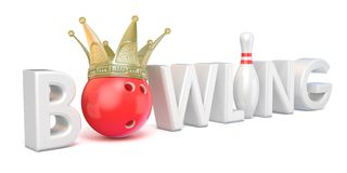 Word BOWLING, crown, bowling, ball and pin 3D Stock Image