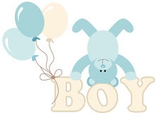 Word boy with baby teddy bear and balloons Stock Photos