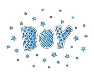 Word Boy with stars. Hand lettering. Blue colors. Print for cards, man shirt and baby clothes. Vector illustration. Royalty Free Stock Photography
