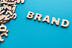 Word Brand on blue background Stock Images