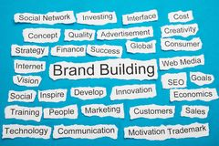 Word brand building on piece of torn paper Stock Images