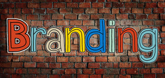 The Word Branding on a Brick Wall Background Royalty Free Stock Photo