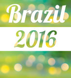 Word Brazil 2016. On bokeh abstract background Royalty Free Stock Photos