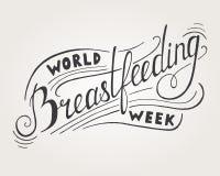 Word Breastfeeding Week Lettering. On gray background Stock Image