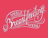 Word Breastfeeding Week Lettering. On pink background Royalty Free Stock Photos