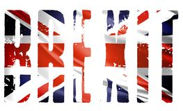 The word Brexit drawn in the colors of the U.K. flag stock illustration