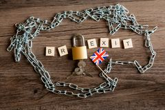 Brexit with chain and padlock royalty free stock images