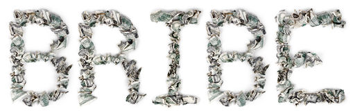 Bribe - Crimped 100$ Bills. The word 'bribe', made out of crimped 100$ bills Royalty Free Stock Image