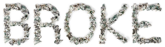 Broke - Crimped 100$ Bills. The word 'broke', made out of crimped 100$ bills Stock Photo