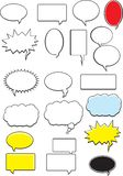 Word Bubbles. A variety of word bubbles, balloons and clouds Royalty Free Stock Images